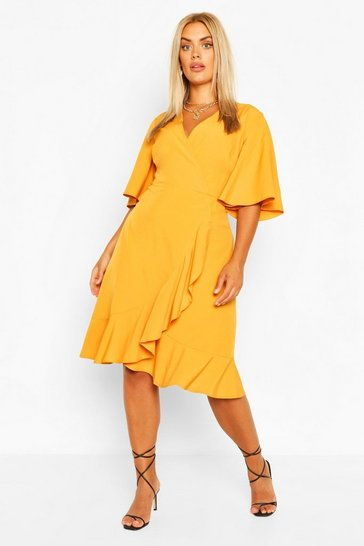 Mustard Plus Woven Ruffle Wrap Dress