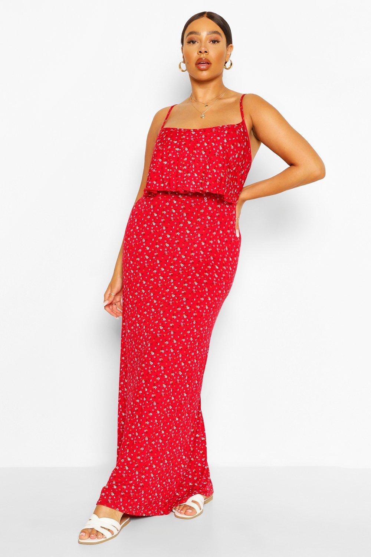 Plus Double Layer Strappy Maxi Dress 7