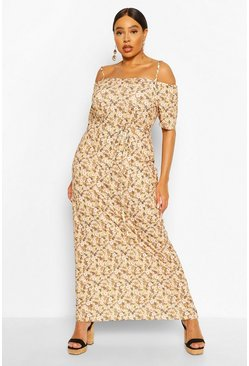 Mustard yellow Plus Ditsy Floral Cold Shoulder Maxi Dress