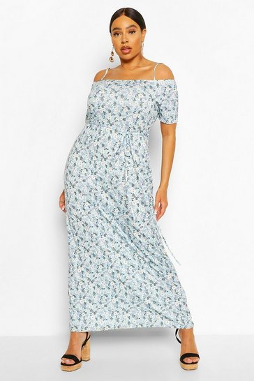 Sage Plus Ditsy Floral Cold Shoulder Maxi Dress