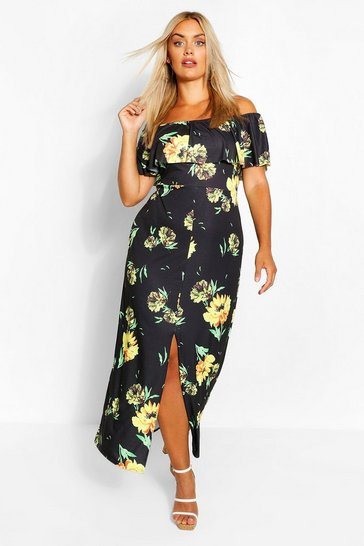Black Plus Floral Off The Shoulder Ruffle Maxi Dress