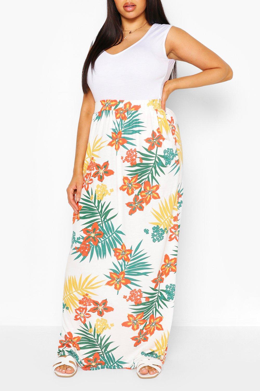 Plus Tropical Leaf Beach Maxi Skirt 8