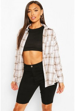 Ivory white Petite Oversized Check Shirt