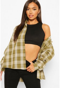 Khaki Petite Oversized Check Shirt