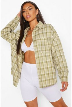 Olive Petite Oversized Check Shirt