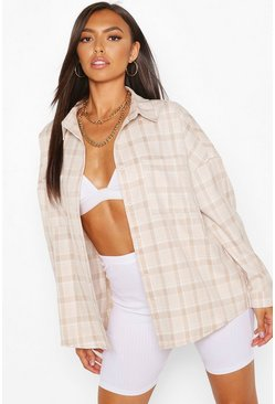 Stone Petite Oversized Check Shirt