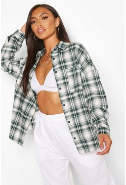 Dark green green Petite Oversized Check Shirt