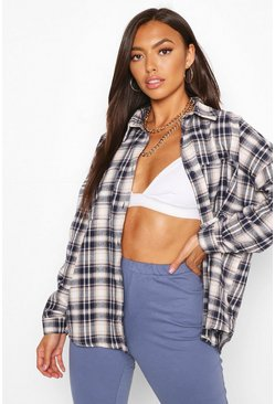 Navy Petite Oversized Check Shirt