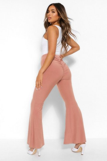 Blush pink Petite Ruched Bum Flared Trousers
