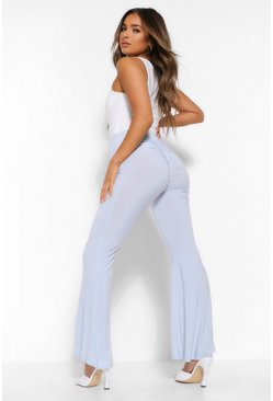 Sky blue Petite Ruched Bum Flared Trousers