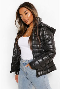 Black Petite Hooded Puffer Jacket