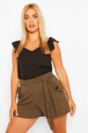 Khaki Plus Button Pocket Detail Belted Tailored Short