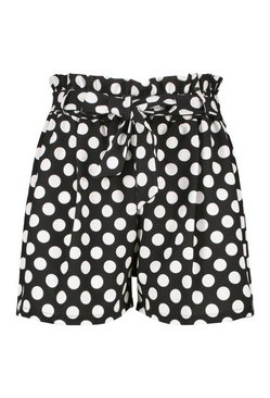 Black Plus Spot Print Paperbag Tailored Shorts