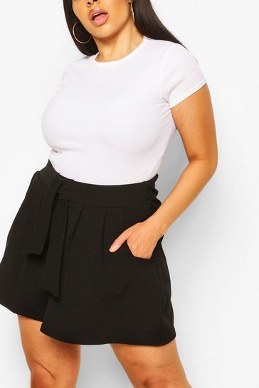 Black Plus Box Pleated Tailored Shorts