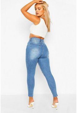 Blue Plus Butt Shaper Mid Rise Distressed Skinny Jean
