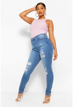 Mid blue blue Plus Distressed Super High Waisted Jeans
