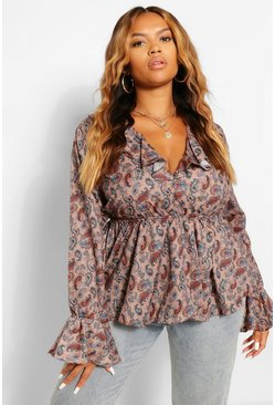 Cream Plus Paisley Print Ruffle Plunge Top