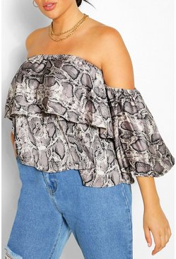 Grey Plus Snake Print Bardot Top