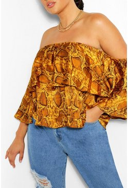 Mustard yellow Plus Snake Print Bardot Top