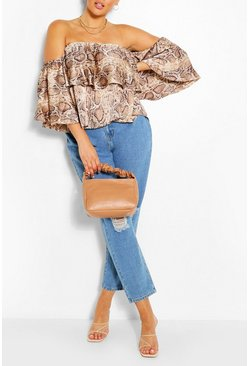 Stone Plus Snake Print Bardot Top