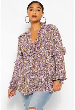 Purple Plus Floral Print Ruffle Detail Plunge Blouse