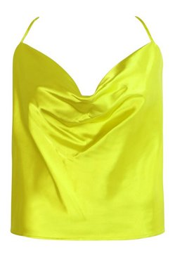 Lime Plus Cross Back Cowl Neck Satin Cami