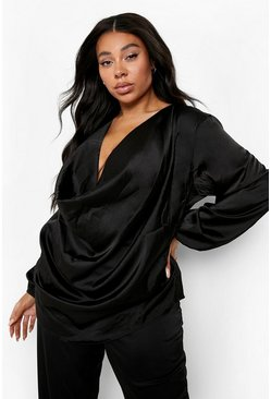 Black Plus Satin Cowl Long Sleeve Blouse