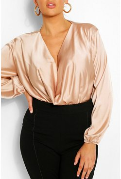 Champagne beige Plus Satin Cowl Long Sleeve Blouse