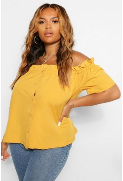 Mustard Plus Off Shoulder Ruffle Bardot Top