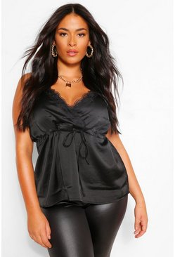 Black Plus Lace Trim Drawstring Satin Cami