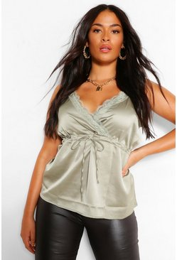 Sage green Plus Lace Trim Drawstring Satin Cami