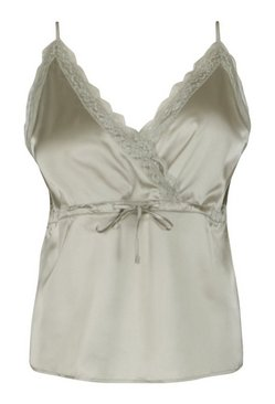 Sage Plus Lace Trim Drawstring Satin Cami