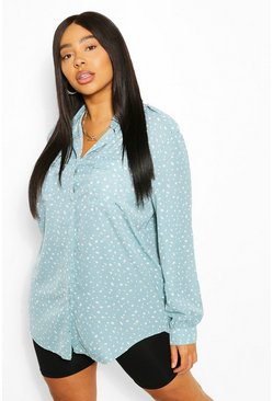 Blue Plus Smudge Print Utility Shirt