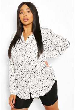 White Plus Smudge Print Utility Shirt