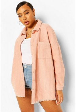 Blush pink Plus Oversized Cord Shirt