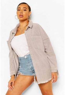 Grey Plus Oversized Cord Shirt