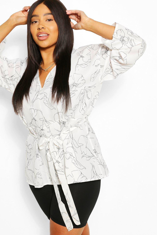 Plus Abstract Plunge Kimono Sleeve Tie Waist Top 6