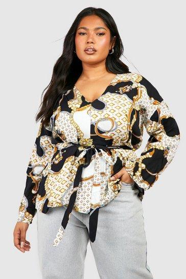 Black Plus Plunge Kimono Sleeve Tie Waist Top