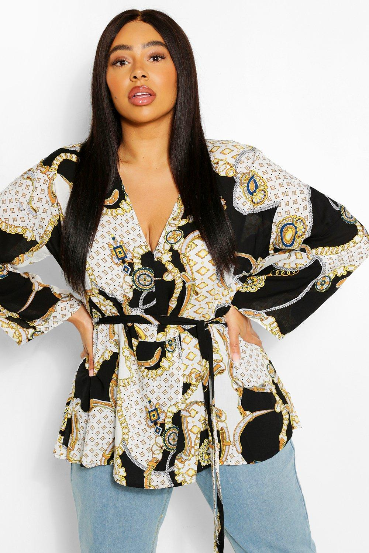 Plus Plunge Kimono Sleeve Tie Waist Top 6