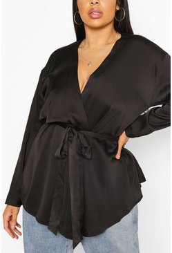 Black Plus Satin Wrap Top