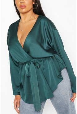 Emerald Plus Satin Wrap Top