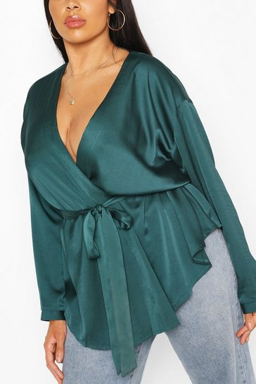 Emerald green Green Plus Satin Wrap Top