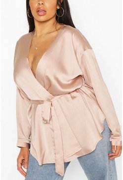 Nude Plus Satin Wrap Top
