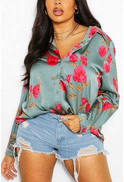 Sage green Plus Floral Print Satin Shirt