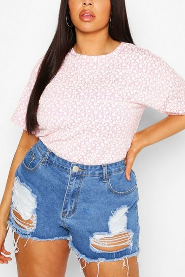 Lilac purple Plus Mono Ditsy Floral Oversized T-Shirt