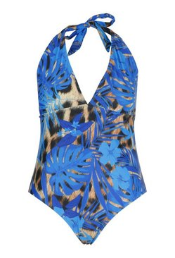 Blue Plus Tropical Control Halterneck Swimsuit