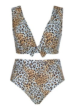 Brown Plus Leopard Tie Front High Waist Bikini