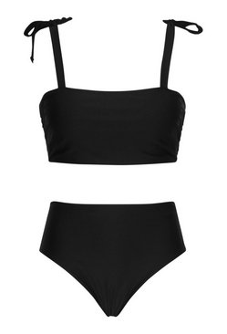 Black Plus Bow High Waist Bikini Set