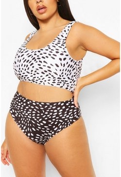 Black Plus Contrast Deep Scoop High Waist Bikini