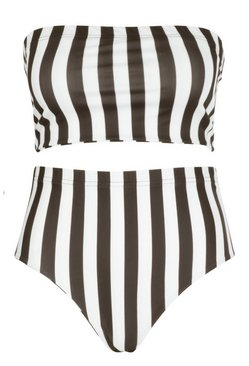 Black Plus Stripe High Waisted Bikini